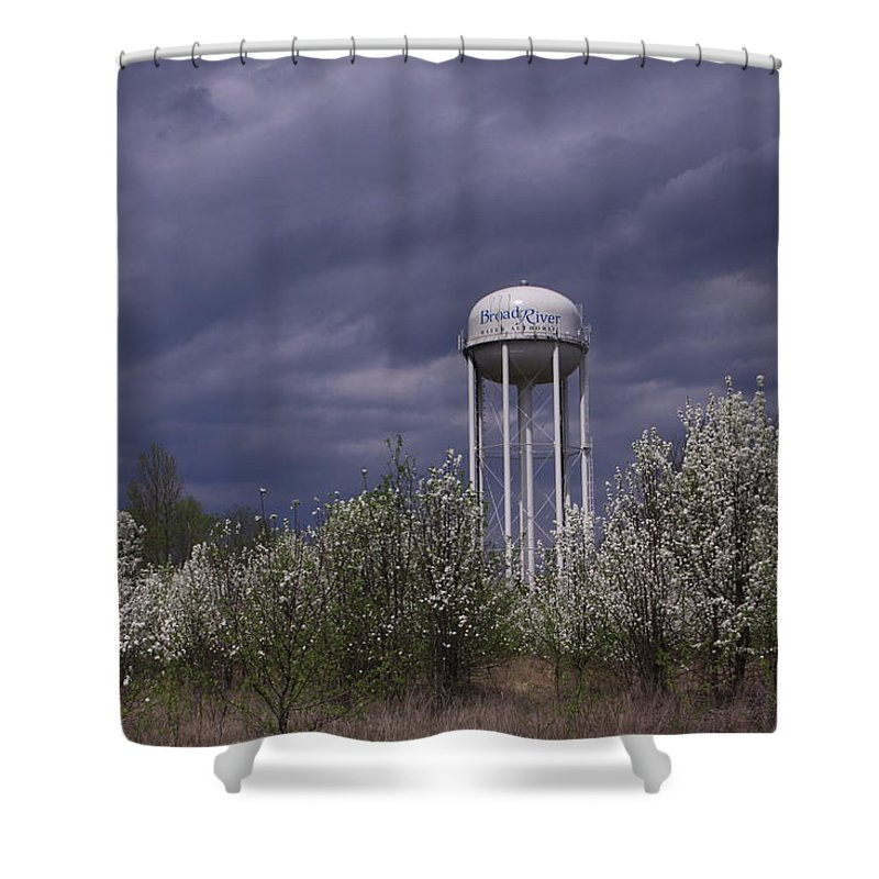 Water Tower Shower Curtain featuring the photograph Dramatic Sky by Karen Ruhl