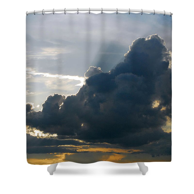 Provence Shower Curtain featuring the photograph Dramatic Sky With Crepuscular Rays by Anne Keiser