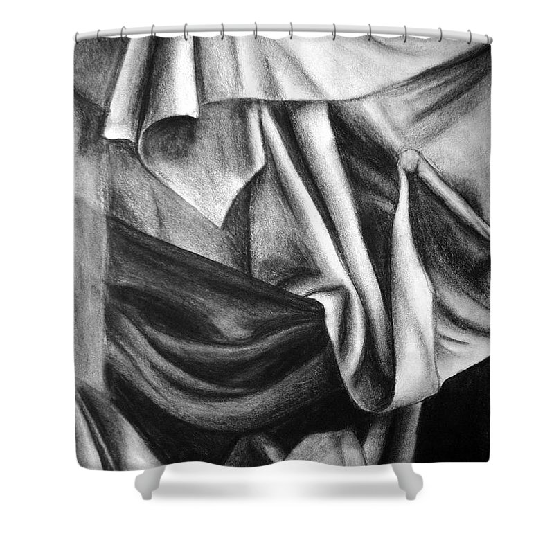 Charcoal Shower Curtain featuring the drawing Drapery Still Life by Nancy Mueller