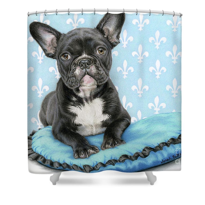 French Bulldog Shower Curtain Featuring The Painting Draw Me Like One Of Your Girls By