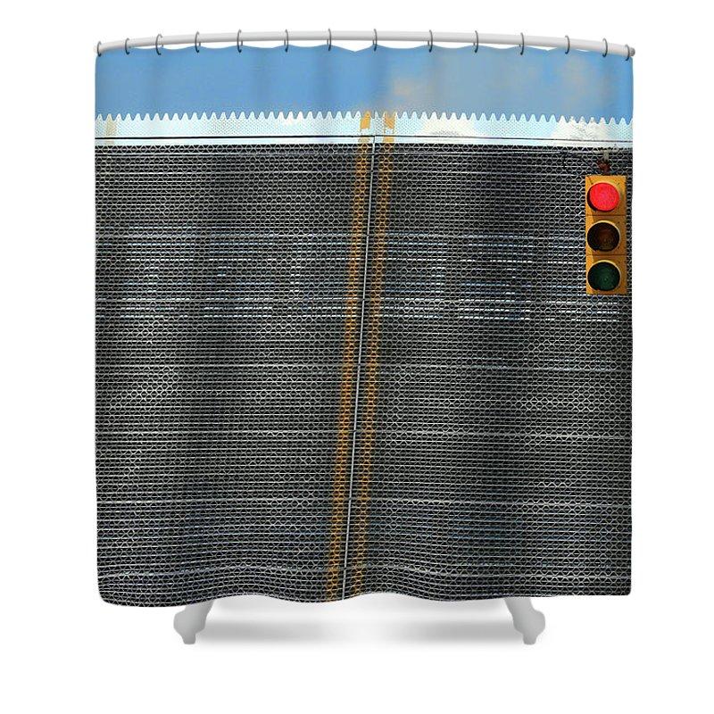 Drawbridge Shower Curtain featuring the photograph Drawbridge And Stoplight by Mary Bedy