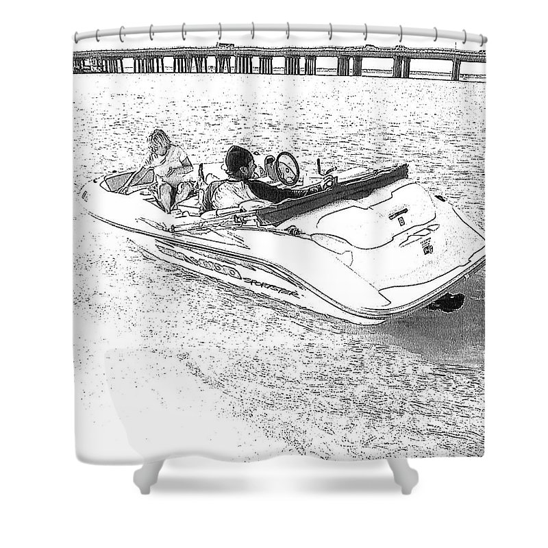 Boat Shower Curtain featuring the photograph Drawing The Boat by Michelle Powell