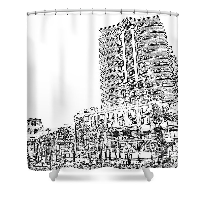 Drawing Shower Curtain featuring the photograph Drawing The Building by Michelle Powell