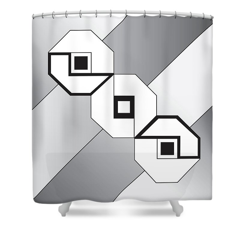 Illustration Shower Curtain featuring the drawing Drawn2shapes4bnw by Maggie Mijares