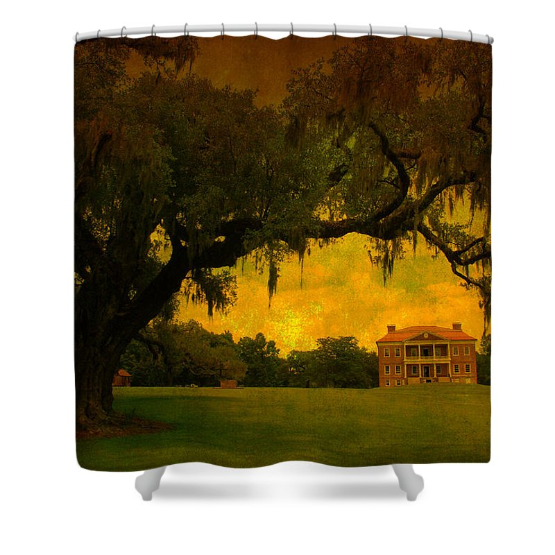 Plantation House Shower Curtain featuring the photograph Drayton Hall Plantation In Charleston by Susanne Van Hulst
