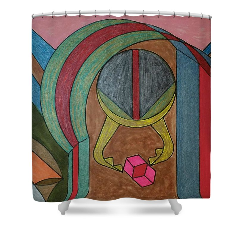 Geometric Art Shower Curtain featuring the glass art Dream 94 by S S-ray