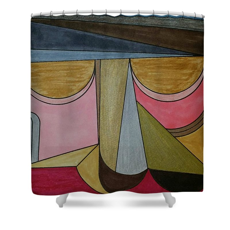 Geometric Art Shower Curtain featuring the glass art Dream 95 by S S-ray