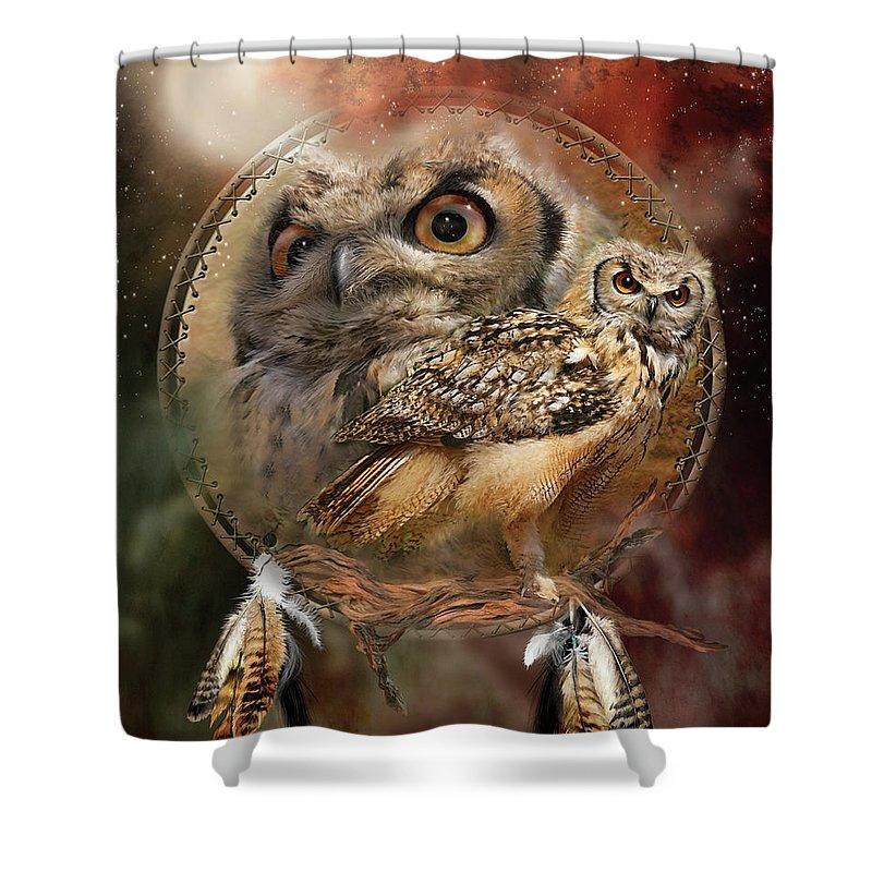 Carol Cavalaris Shower Curtain featuring the mixed media Dream Catcher - Spirit Of The Owl by Carol Cavalaris