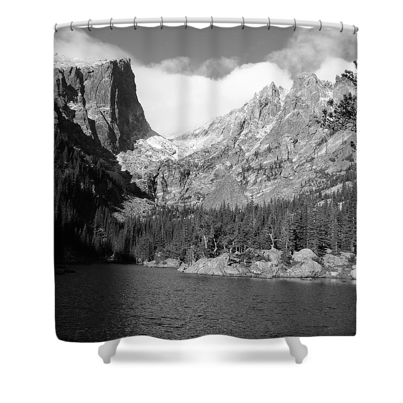 Dream Shower Curtain featuring the photograph Dream Lake, Rocky Mountain National Park by Nicole Belvill