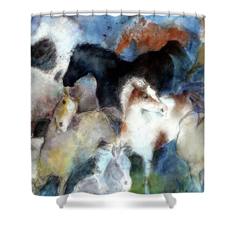 Horses Shower Curtain featuring the painting Dream Of Wild Horses by Christie Martin