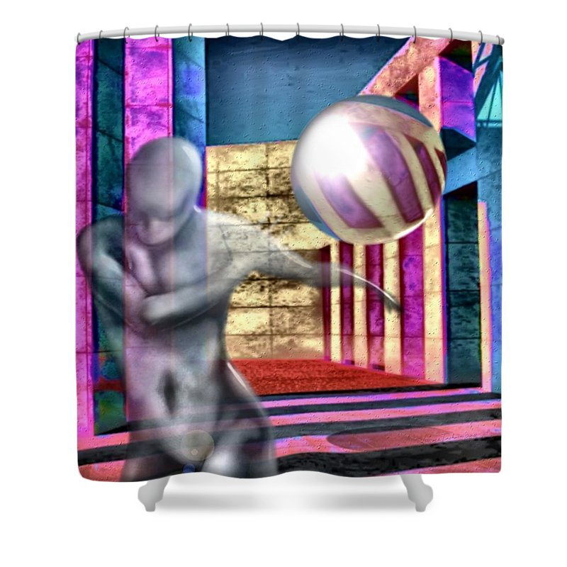 Playground Game Ball Colors Shower Curtain featuring the digital art Dream Play by Veronica Jackson