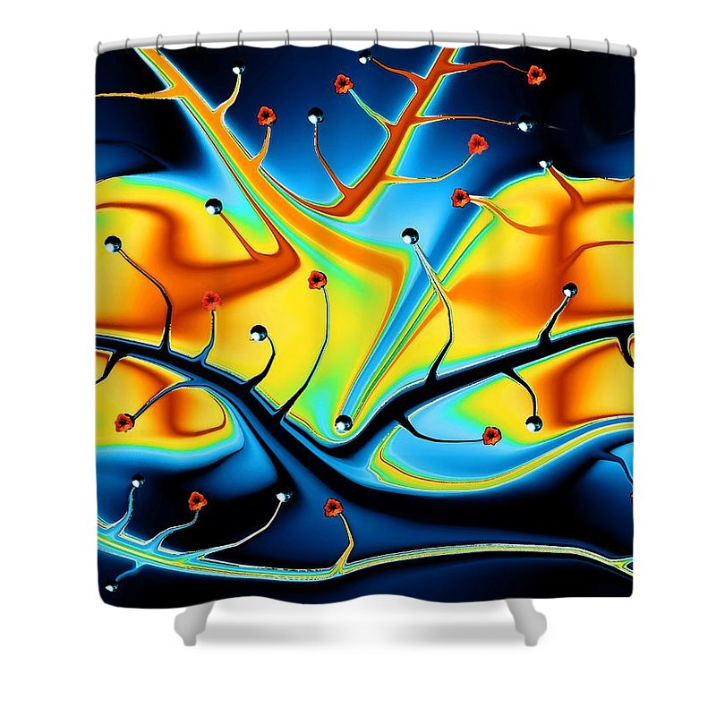Abstract Shower Curtain featuring the digital art Dream Tree by Robin Monroe