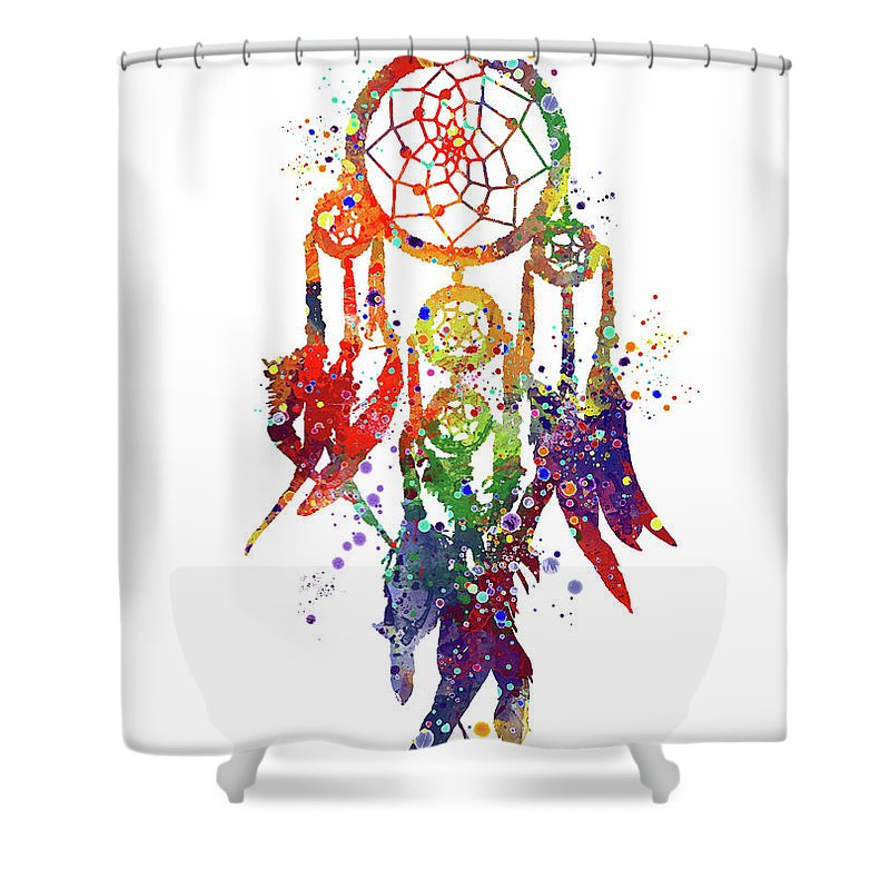 Dreamcatcher Print Rainbow Shower Curtain Featuring The Digital Art Boho Poster Watercolor