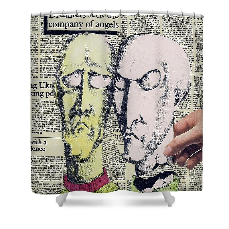 Dreamers Angels Faces Shower Curtain featuring the mixed media Dreamers by Veronica Jackson