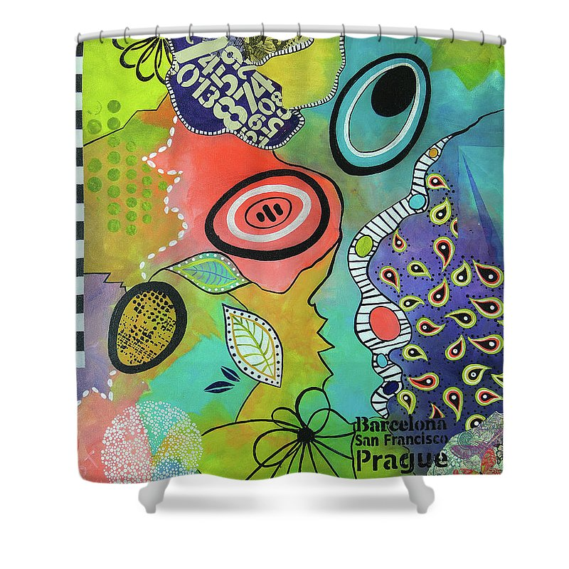 Mixed Media Shower Curtain featuring the mixed media Dreaming In Colour 2 by Wendy Provins