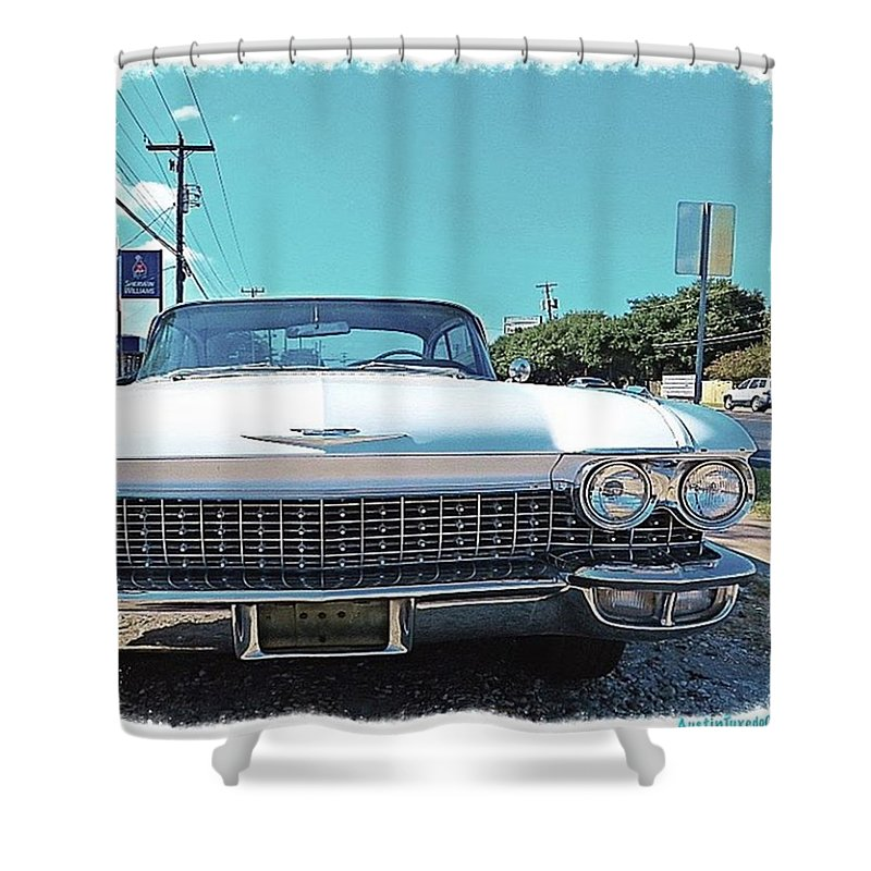 Keepaustinweird Shower Curtain featuring the photograph Dreaming Of Going #vintage And #classic by Austin Tuxedo Cat