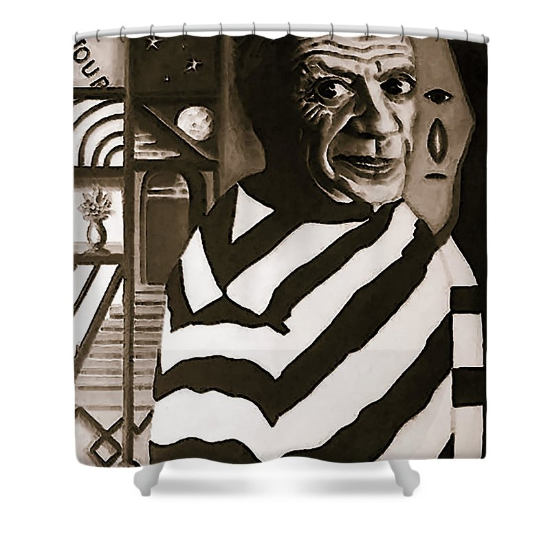 Artist Shower Curtain Featuring The Painting Dreaming Of Picasso By Margaret Juul