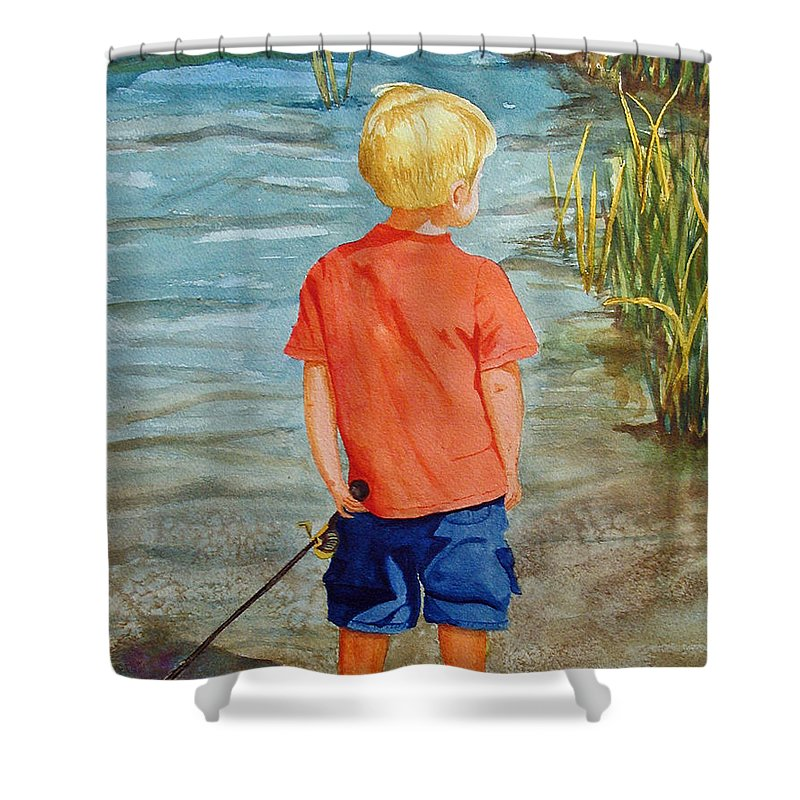 Fishing Shower Curtain featuring the painting Dreaming Of The Big One by Anna Lohse