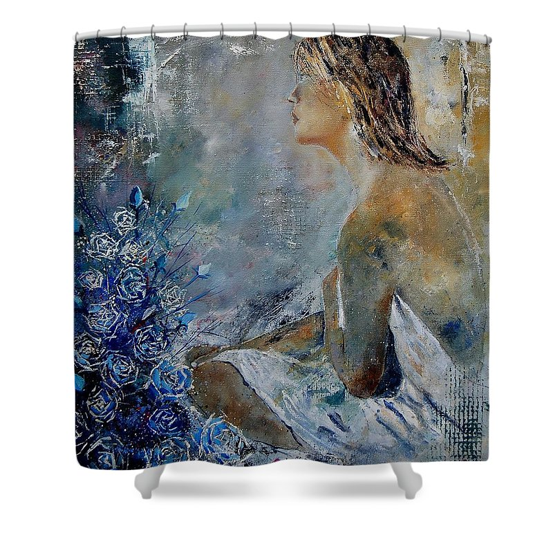 Girl Shower Curtain featuring the painting Dreaming Young Girl by Pol Ledent