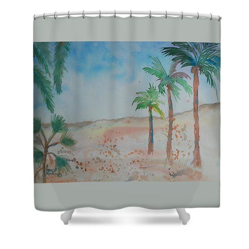 Landscape Shower Curtain featuring the painting California Beach by Aldonia Bailey