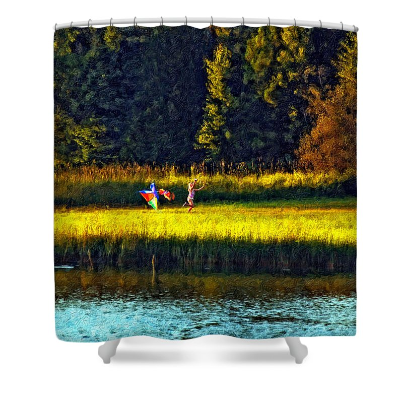 Kids Shower Curtain featuring the photograph Dreams Can Fly Impasto by Steve Harrington