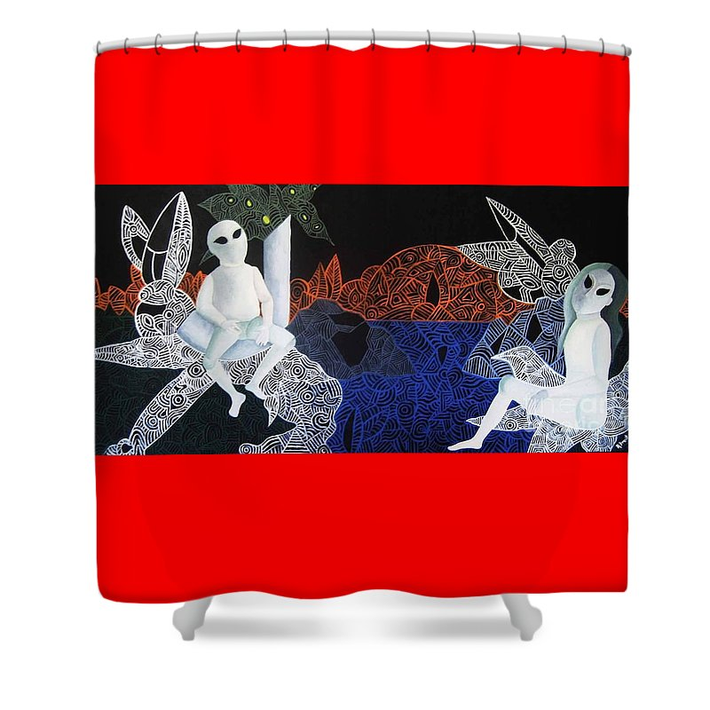 Surreal Dreamscape Shower Curtain featuring the painting Dreams Of Broken Dolls by Reb Frost