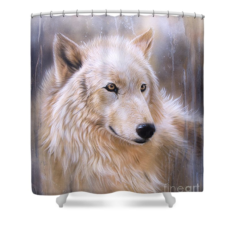 Arctic Wolf Shower Curtains