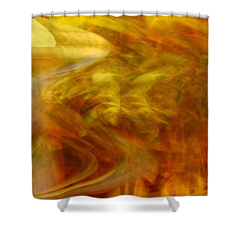 Abstract Art Shower Curtain featuring the digital art Dreamstate by Linda Sannuti
