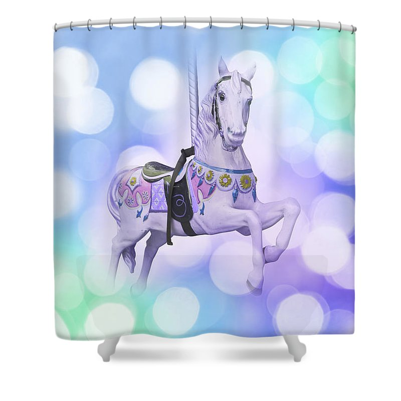 Carnival Shower Curtain featuring the photograph Dreamy Pastel Blue Carousel Horse by Delphimages Photo Creations