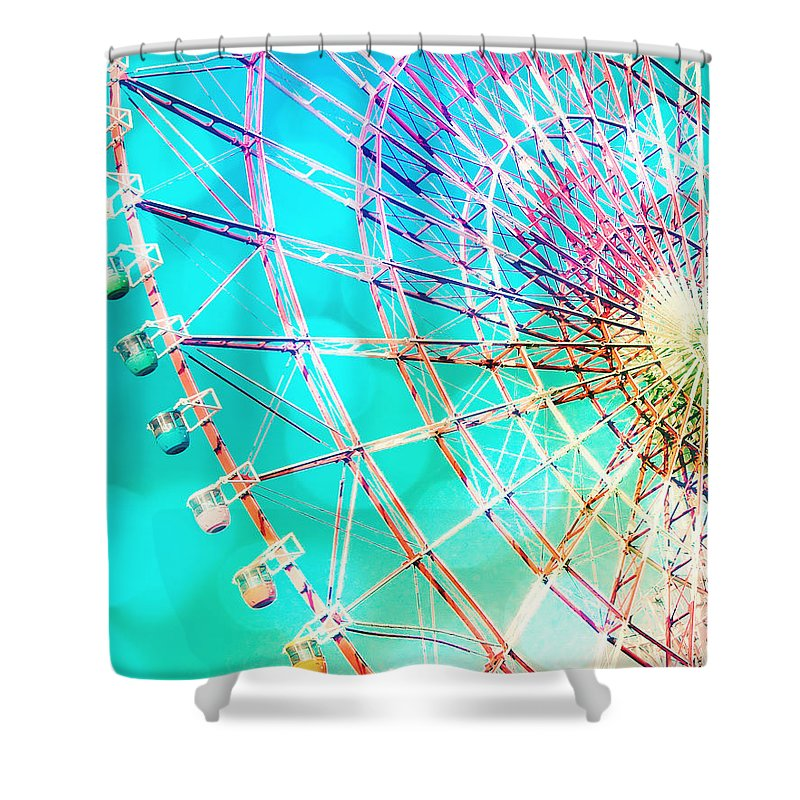 Carnival Shower Curtain featuring the photograph Dreamy Pastel Ferris Wheel by Delphimages Photo Creations