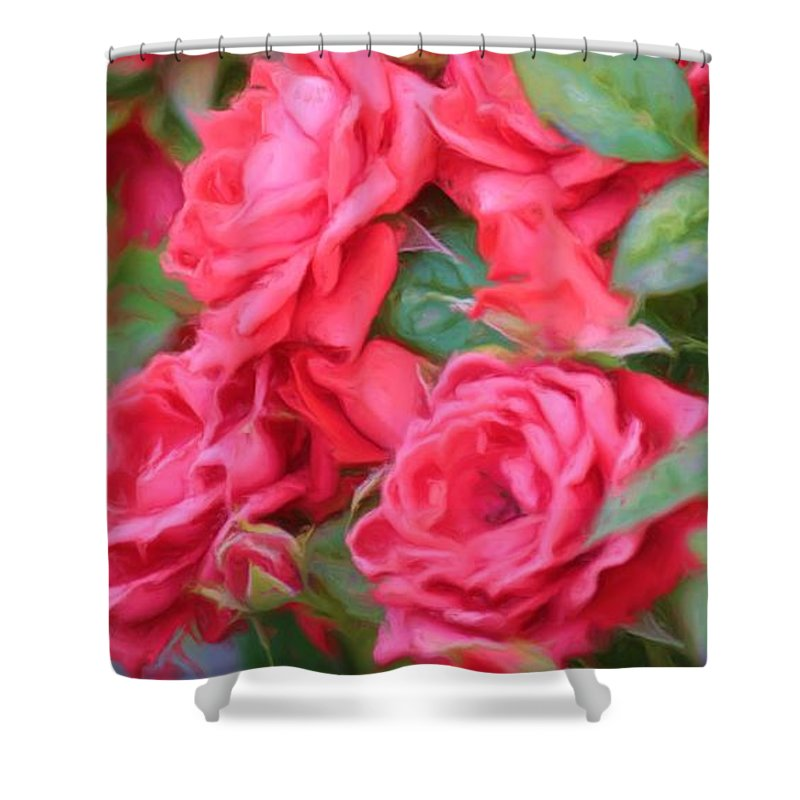 Floral Shower Curtain featuring the photograph Dreamy Red Roses - Digital Art by Carol Groenen