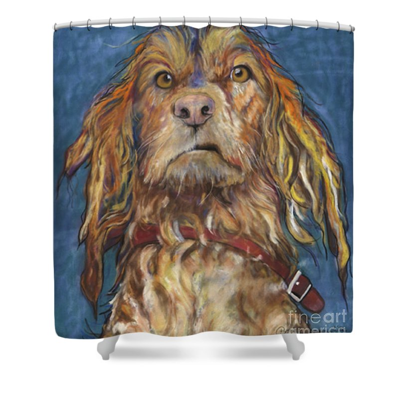 Golden Retriever Painting Shower Curtain featuring the pastel Drenched by Pat Saunders-White