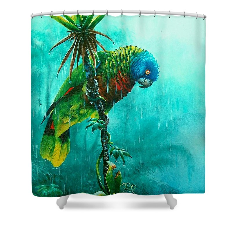 Chris Cox Shower Curtain featuring the painting Drenched - St. Lucia Parrot by Christopher Cox