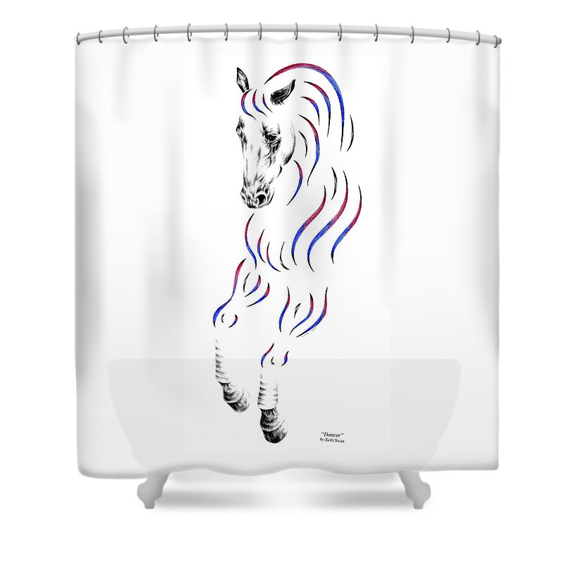 Dressage Shower Curtain featuring the drawing Dressage Horse Dancer Print by Kelli Swan