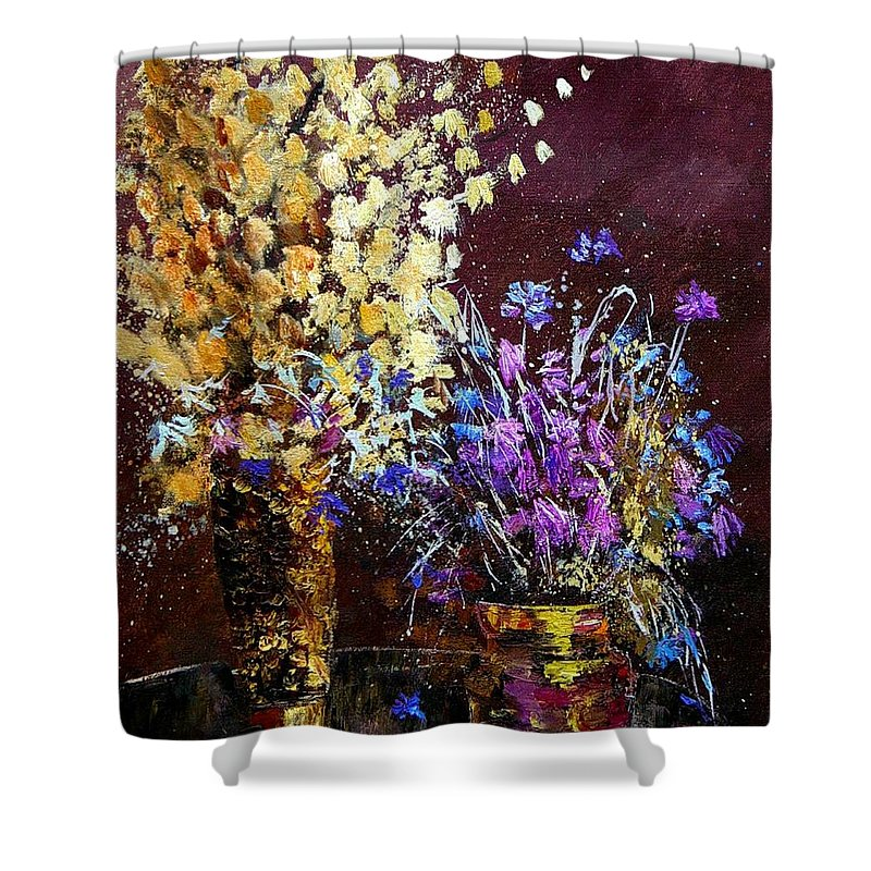 Flowers Shower Curtain featuring the painting Dried Flowers by Pol Ledent