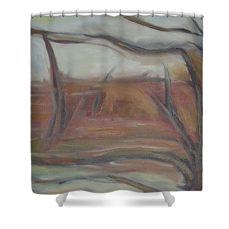 Woods Tree Abstract Original Painting Winter Shower Curtain featuring the painting Drift by Leila Atkinson