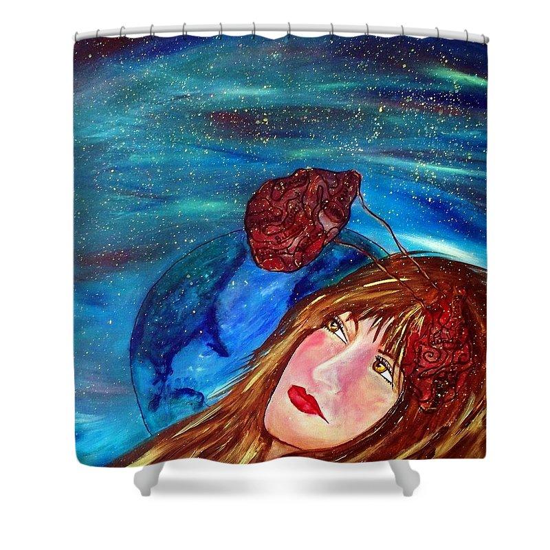 Drifting Shower Curtain featuring the painting Drifting Again... by Robin Monroe