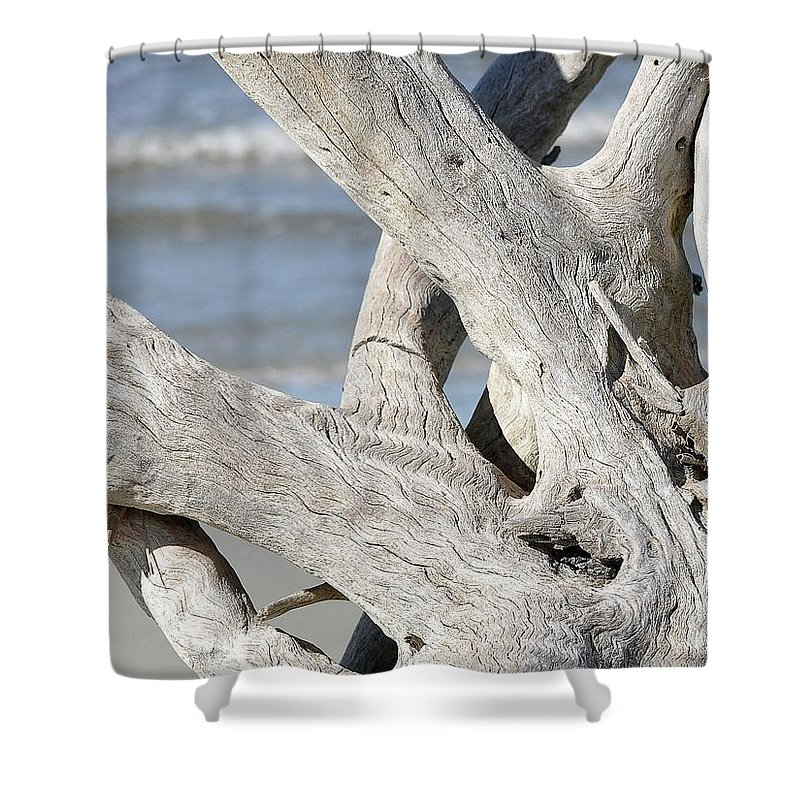 Driftwood Shower Curtain featuring the photograph Driftwood Detail by Al Powell Photography USA