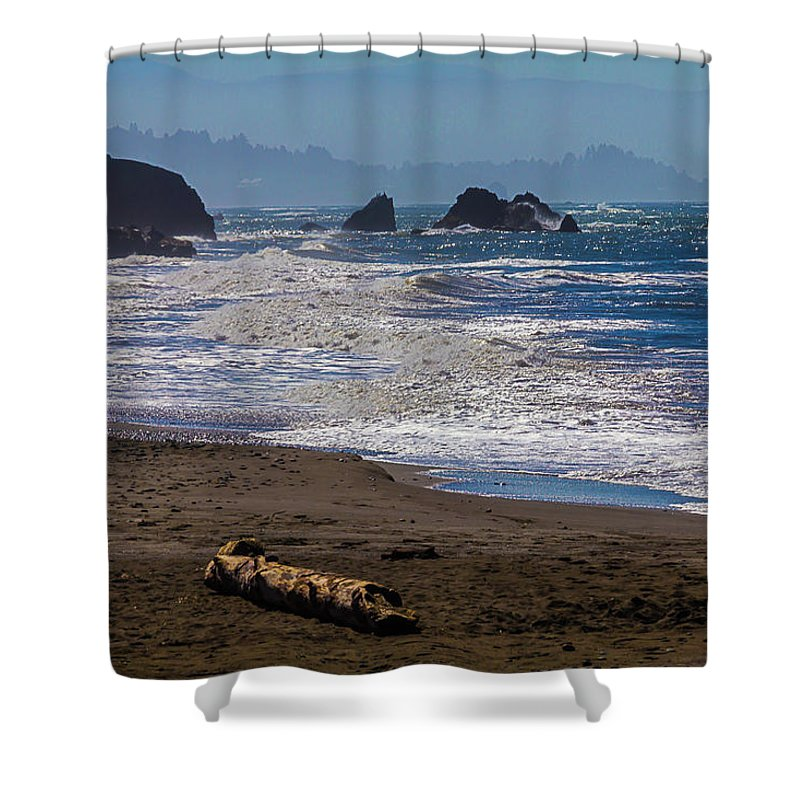 Driftwood Shower Curtain featuring the photograph Driftwood Log by Garry Gay