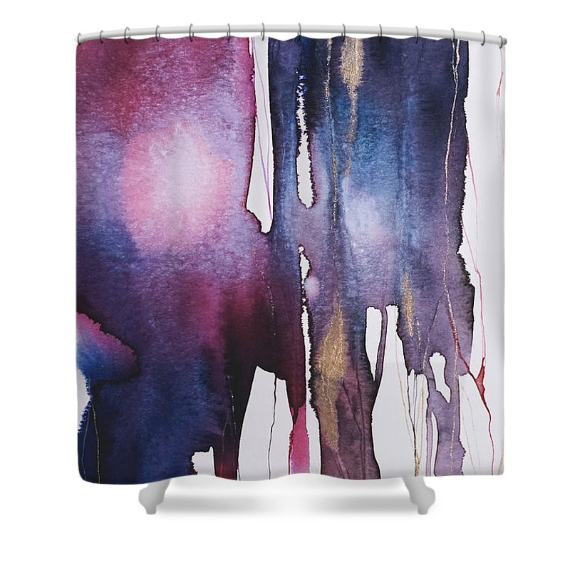Wall Art Shower Curtain featuring the mixed media Dripping 2 by Emma Yang