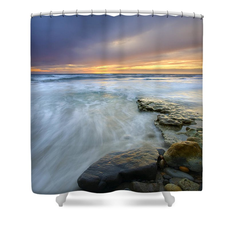 Rocks Shower Curtain featuring the photograph Driven Before The Storm by Mike Dawson