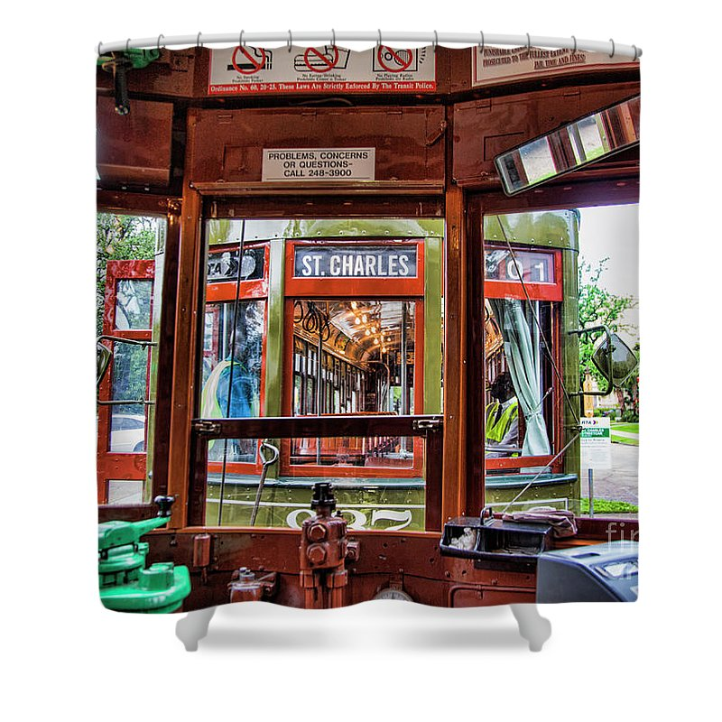 Streetcar Shower Curtain featuring the photograph Driver St. Charles Trolley New Orleans by Chuck Kuhn