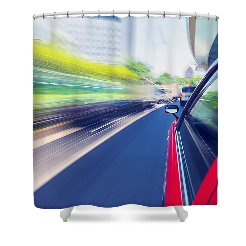 Taxi Shower Curtain featuring the photograph Driving Through The City By Taxi by Michiko Tierney