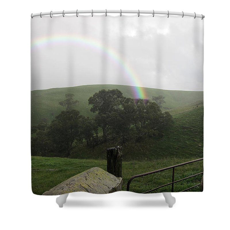 Gate Shower Curtain featuring the photograph Drizzling Rainbow by Douglas Barnard