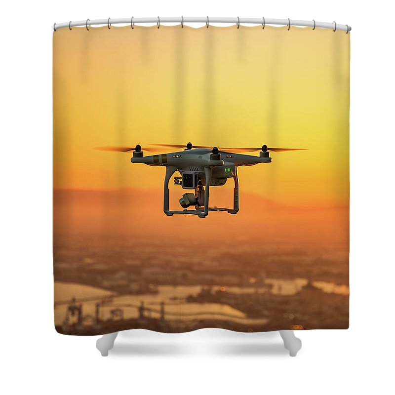 Blue Sky Shower Curtain featuring the photograph Drone Flying On Sunset by Ron Ardity