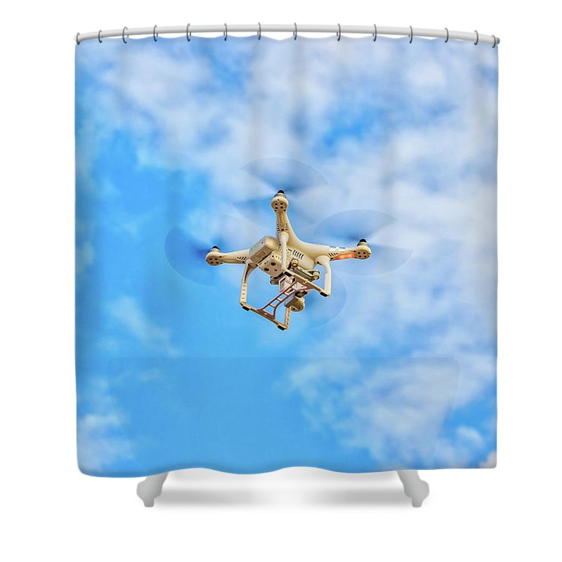 Blue Sky Shower Curtain featuring the photograph Drone On The Air by Ron Ardity