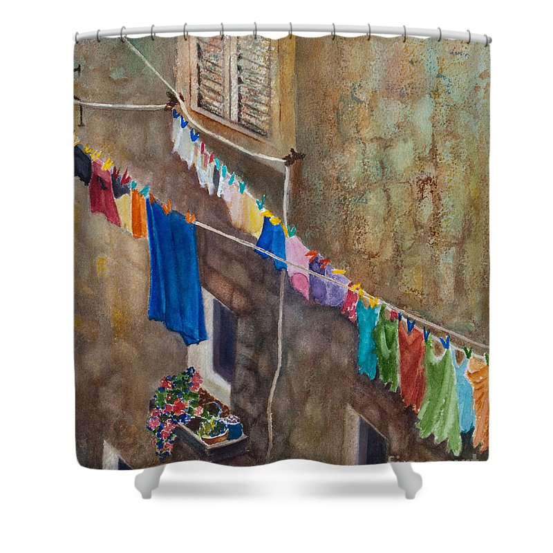 Laundry Shower Curtain featuring the painting Drying Time by Karen Fleschler