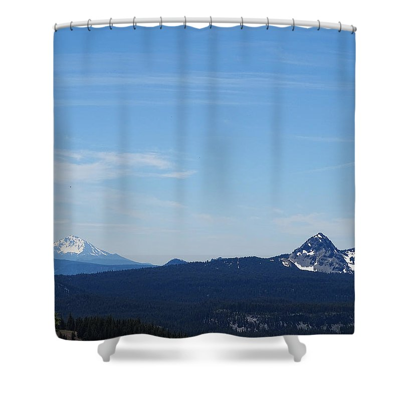 Mountains Shower Curtain featuring the photograph Dual Mountains by Leah Stark