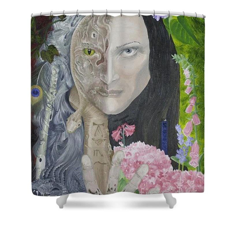 Portrait Dual Personality Flowers Hand Flute Crocodile Snake Boils Shower Curtain featuring the painting Duality Of Nature by Pauline Sharp