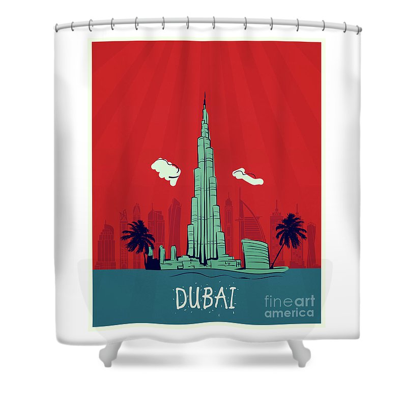 Dubai Vintage Poster Travel Shower Curtain For Sale By Pablo Romero